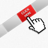 Click here. Cursor mouse hand pushing on click here button