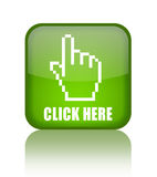 Click here. Green glass button Royalty Free Stock Images