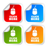 Click here. Labels on white background Stock Photo