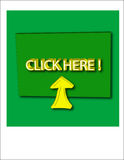 Click Here. Button, green with yellow background Royalty Free Stock Photos
