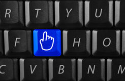 Click here. Pointer on a black keyboard stock images