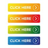 Click Here action button set Royalty Free Stock Photography