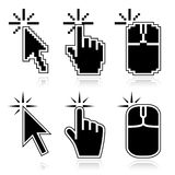 Click here black mouse cursors. Black mouse cursors set. Click here arrow, hand and mouse left click icons. Good for illustration of place of clicking Royalty Free Stock Photos