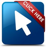 Click here blue square button red ribbon in corner. Click here isolated on blue square button with red ribbon in corner abstract illustration Stock Photos