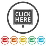 `Click Here` button, Click here icon, Click here sign, 6 Colors Included Royalty Free Stock Image