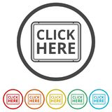 `Click Here` button, Click here icon, Click here sign, 6 Colors Included Stock Photography