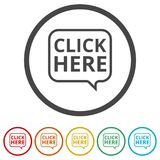 `Click Here` button, Click here icon, Click here sign, 6 Colors Included Royalty Free Stock Photos