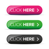 Click Here button. Vector set stock illustration
