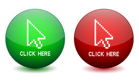 Click here button. Vector click here button on white background. Eps format is available Royalty Free Stock Photo