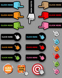Click here buttons. Set of Click here buttons or icons with hand cursor on grey background