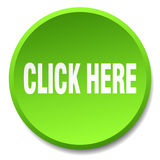 Click here green round flat push button Stock Photos