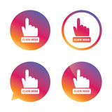 Click here hand sign icon. Press button. Stock Photo