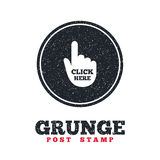 Click here hand sign icon. Press button. Royalty Free Stock Photos