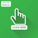 Click here icon. Business concept hand cursor pictogram. Vector royalty free illustration