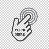 Click here icon. Hand cursor signs. Black button flat vector ill. Ustration Royalty Free Stock Photos