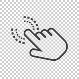 Click here icon. Hand cursor signs. Black button flat vector ill. Ustration Stock Image