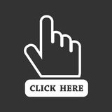 Click here icon. Hand cursor signs. Black button flat vector illustration Royalty Free Stock Image