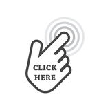 Click here icon. Hand cursor signs. Black button flat vector illustration Royalty Free Stock Photos