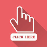 Click here icon. Hand cursor signs. Pink buttons with long shado Stock Image