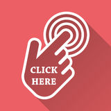 Click here icon. Hand cursor signs. Pink buttons with long shadow. Flat vector illustration Stock Photos