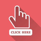 Click here icon. Hand cursor signs. Pink buttons with long shadow. Flat vector illustration Royalty Free Stock Image