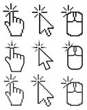 Click here mouse cursors set. Stock Photography