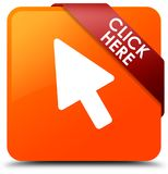 Click here orange square button red ribbon in corner. Click here isolated on orange square button with red ribbon in corner abstract illustration Royalty Free Stock Photography