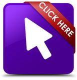 Click here purple square button red ribbon in corner. Click here isolated on purple square button with red ribbon in corner abstract illustration Stock Photos