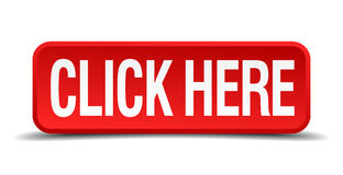 Click here red three-dimensional square button Royalty Free Stock Photo
