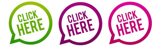 Click here - Round web Buttons. Circle Eps10 Vector. Three different colours vector illustration