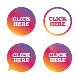 Click here sign icon. Press button. Stock Images