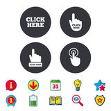 Click here signs. Hand press icons. Click here icons. Hand cursor signs. Press here symbols. Calendar, Information and Download signs. Stars, Award and Book Stock Photo