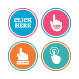 Click here signs. Hand press icons. Stock Images