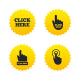 Click here signs. Hand press icons. Click here icons. Hand cursor signs. Press here symbols. Yellow stars labels with flat icons. Vector Royalty Free Stock Photo