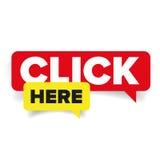 Click here speech bubble Stock Photos