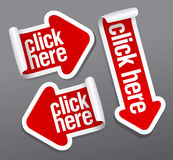 Click here stickers Stock Photography