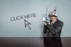 Click here text with vintage businessman Royalty Free Stock Image