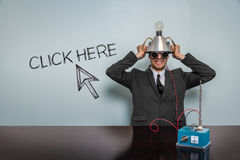 Click Here text with vintage businessman royalty free stock photography