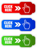 Click here vector button Royalty Free Stock Photography