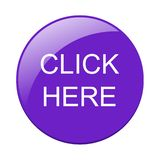 Click here. Web purple button icon on isolated white background - editable vector illustration stock illustration
