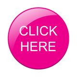 Click here. Web pink button icon on isolated white background - editable vector illustration royalty free illustration