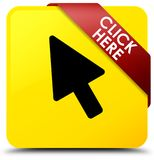 Click here yellow square button red ribbon in corner. Click here isolated on yellow square button with red ribbon in corner abstract illustration Stock Images