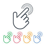 Click icons with hand cursors  design. Pointer symbols. Vector design of click icons with hand cursors. Hand is pushing the button. Pointer symbols Royalty Free Stock Image