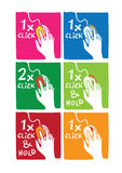 Click instructions. With hand on the mouse in various colors Stock Images