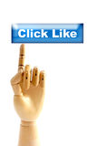 Click like. Hand model click to like button Royalty Free Stock Photography