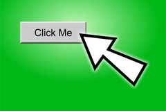 Click Me. Pointer clicking on computer internet button