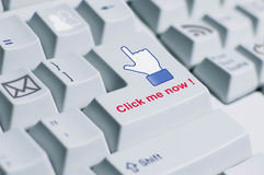 Click me keyboard sign Stock Image