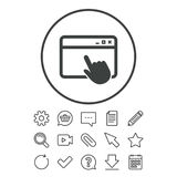 Click page icon. Browser window sign. Click page icon. Browser window symbol. Website or internet sign. Document, Chat and Paper clip line signs. Question Stock Images