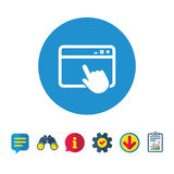 Click page icon. Browser window sign. Click page icon. Browser window symbol. Website or internet sign. Information, Report and Speech bubble signs. Binoculars Royalty Free Stock Photography