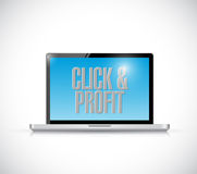 Click and profit laptop illustration design Royalty Free Stock Image